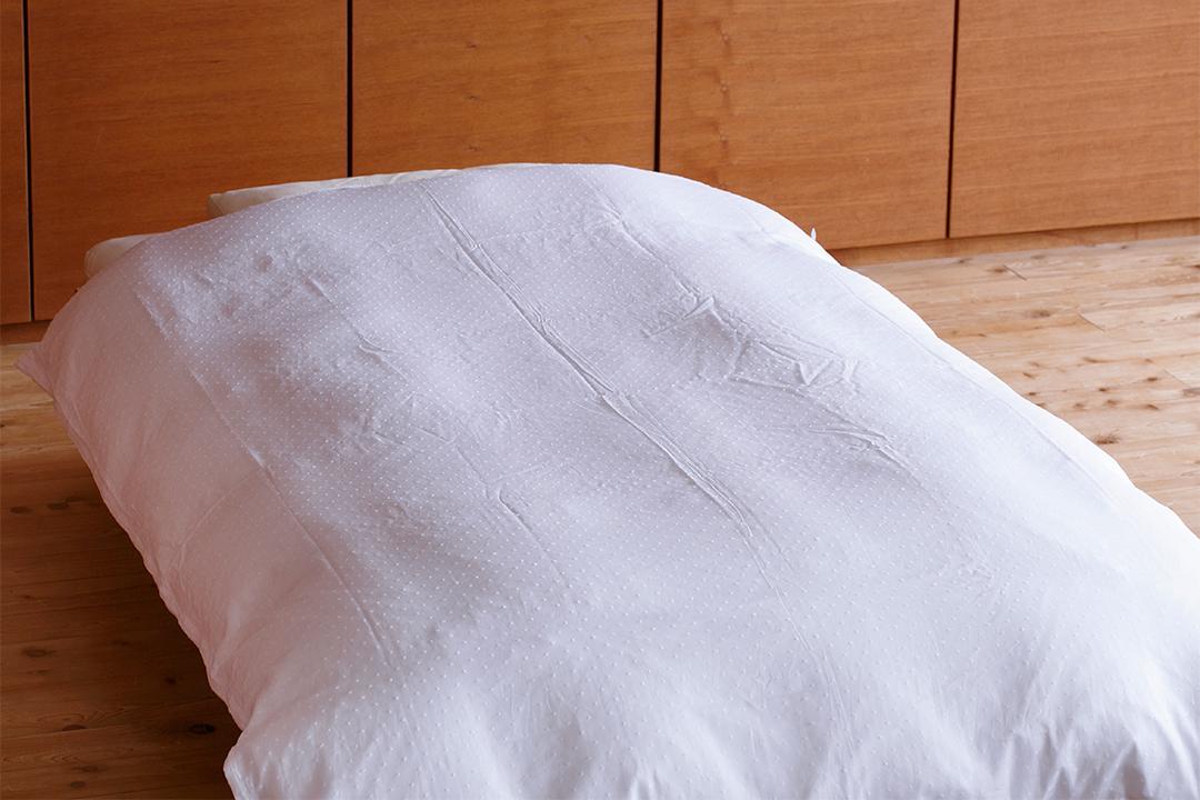 手引き真綿肌掛布団カバーセット SL (カバー:綿ローンドット ホワイト)